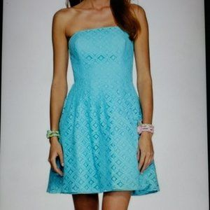 Lilly Pulitzer Caitlin Shorely Blue Lace Dress 12